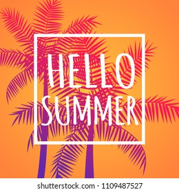 Hello summer orange banner poster card with coconut palms, vector