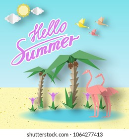 Hello Summer Origami Paper Seasonal Symbols, Sign, Elements with Inscription Illustrate the Greeting of the Fun Summertime. Fashion Background, Banner, Card, Poster. Vector Illustrations Art Design.