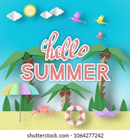 Hello Summer Paper Origami Seasonal Symbols, Sign, Elements with Text Illustrate the Greeting of the Summertime. Fashion Trend Background, Banner, Card, Logo, Poster. Vector Illustrations Art Design.