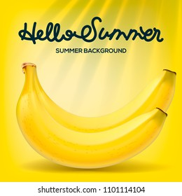 Hello Summer poster with bananas on yellow background, vector illustration.