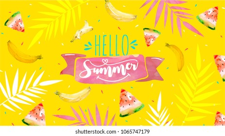 Hello Summer poster, banner in trendy 80s-90s Memphis style. Vector watercolor illustration, lettering and colorful design for poster, card, invitation. Easy editable for Your design.