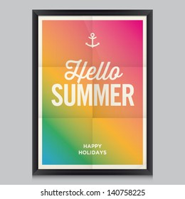 Hello summer poster. Beach summer background. Effects poster, frame, colors background and colors text are editable. Happy holidays card, happy vacation card. Enjoy your summer.