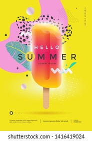 Hello summer poster design for party or sale. Flyer Ice Cream in eclectic style. Vector template