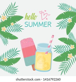 hello summer poster with fresh cocktail icons