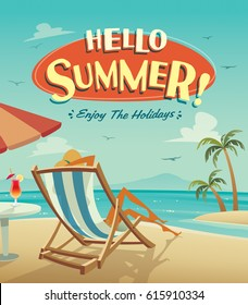 Hello summer poster. Summer holiday on the beach.