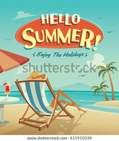 Hello Summer Poster Summer Holiday On The Beach