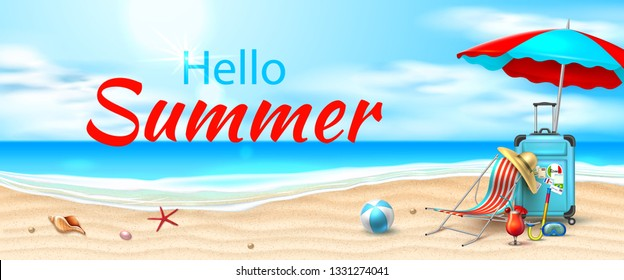 Hello summer poster. Seaside beach with azure waves, lounger sun umbrella, inflatable ball, cocktail and starfish on sand coast. Seashore vector holiday background for travelling and vacation design.