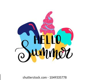 Hello Summer. Summer quote. Handwritten for holiday greeting cards. Hand drawn illustration. Handwritten lettering. Hand Drawn lettering. Summer card design elements. Vector 10 eps