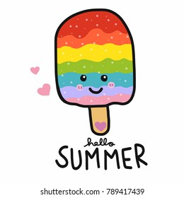Hello Summer Rainbow ice-cream smile face cartoon vector illustration doodle style