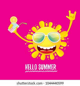 hello summer rock n roll vector label or logo. summer cocktail party poster background with funky smiling sun character wearing sunglasses and holding cocktail glass with lemon and drinking straw.