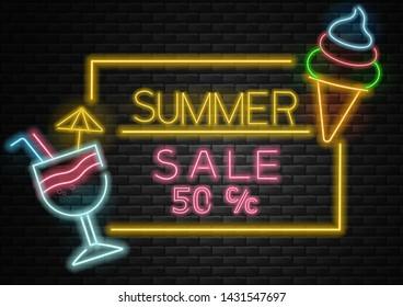 Hello summer, sale banner, 50 %, summer background, neon light, cocktail and ice cream neon vector illustration