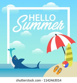 Hello Summer Sale banner vector heading design for banner or poster. Sale and Discounts Concept.