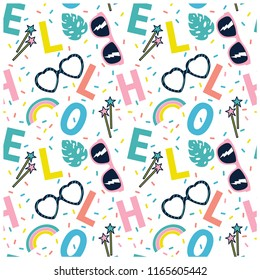 Hello summer seamless pattern.Repeat print.Summer elements vector print.Sunglasses,leaf,rainbow hand drawing.