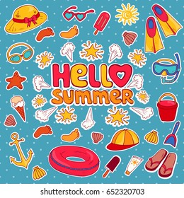 Hello summer. Set of summer elements for a trip to the beach in vector. Illustration can be use for card,coloring book, invitations, decorating websites and for the realization of other design ideas.