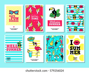 Hello summer. Set of vector cards and banners in cartoon 80s-90s comic style with tropic fruits, flamingo, leopard, toucan, etc. Can be used in cover design, book design, posters and greeting cards.