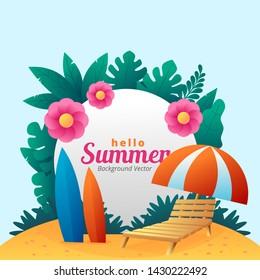 hello summer simple background vector