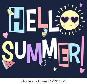 hello summer slogan and patches illustration vector.
