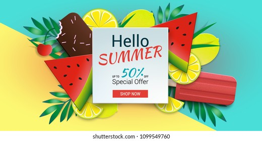 Hello summer special offer template. Vector stock illustration with ice cream, ice lolly, tropical leaves, limes and cherry. Summer illustration for banner design, poster and voucher.