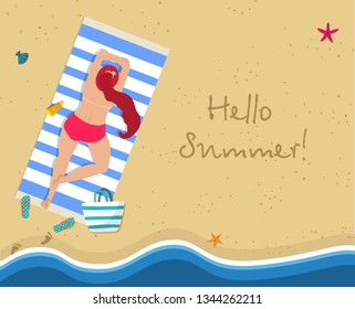 Hello Summer Square Banner. Top View of Young Sunburnt Woman with Long Ginger Hair Lying Topless on Blue and White Striped Mat at Exotic Tropical Beach with Gold Sand. Cartoon Flat Vector Illustration