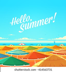 Hello, Summer! Summertime quote. Summer Holidays poster, background with sandy beach full of sun umbrellas, seashore and sunny sky.