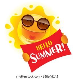 Hello Summer! Summer sun holding a sign.