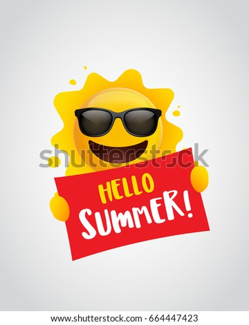 Hello Summer Summer Sun Holding Sign Stock Vector Royalty Free