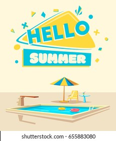 Hello summer. Swimming pool. Cartoon Vector illustration