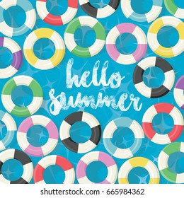 Hello Summer - Swimming Pool Colorful Floating Rings Background - vector eps10