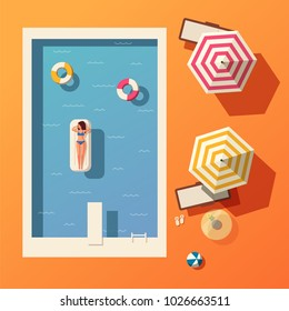 Hello summer. Swimming pool. Flat vector illustration.