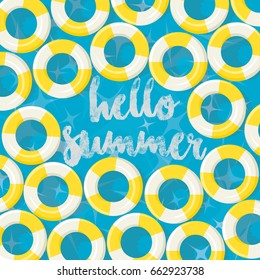 Hello Summer - Swimming Pool Floating Rings Background - vector eps10