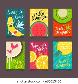 Hello Summer template set, for summer time vacation, Poster and greeting card vector concept.