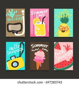 Hello Summer template set, for summer time vacation, greeting card vector concept.