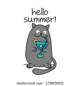 Hello summer text with cute cat with goldfish cocktail - funny quote design with gray cat. Kitten calligraphy sign for print. Cute cat poster with lettering, good for t shirts, gifts, mugs.