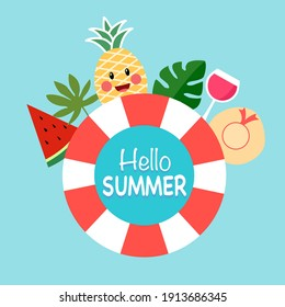 Hello summer text inside rubber ring with watermelon, pineapple, fruit juice, beach hat and tropical leaves in flat design. Happy fresh summer season.