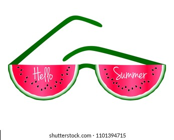Hello Summer text and red watermelon slices sunglasses vector print illustration. Vitamin food element for summer diet. Simple red and green water melon fruit. Hello Summer calligraphic lettering.