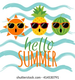 Hello summer text with sun, pineapple, watermelon and wave background. Funny character summer holiday concept vector illustration.