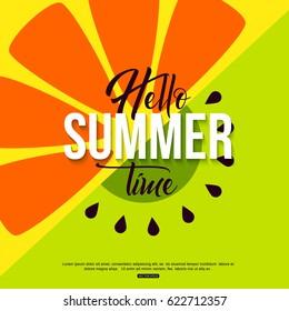 Hello summer time fruit background orange and kiwi for banner, poster. Vector illustration