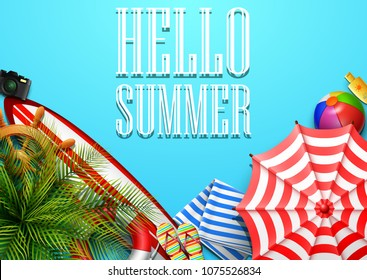 Hello summer time holiday banner. Top view of tropical leaves and beach element collections on blue background