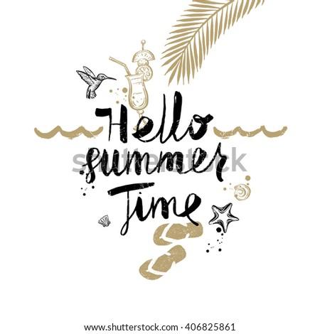 Hello Summer Time Summer Holidays Vacation Stock Vektorgrafik
