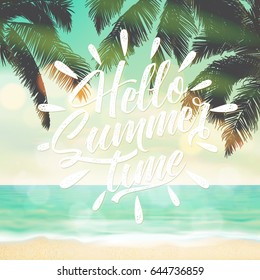 Hello Summer Time Typographical Background With Beach And Palms
