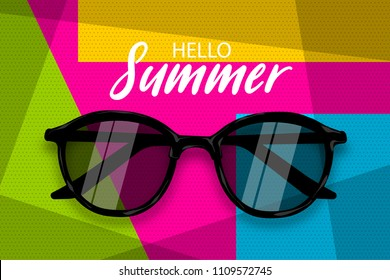 Hello summer time. Vector pop art poster realistic sunglasses. Geometric cube colored background. Vintage retro greeting lettering. Fashion 3d kitsch design.