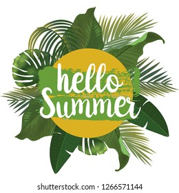 Hello Summer time wallpaper, fun, party, background, picture, art, design, travel, poster, event. Vector illustration