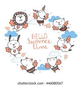 Hello summer time.Cute background with animals
