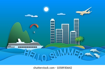 Hello summer travel illustration in paper cut style. Sea resort town, cruise ship, paraglider, islands, dolphins and aircraft.