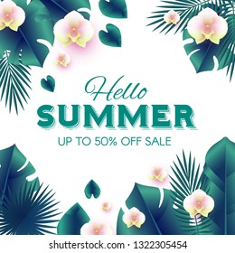 Hello, Summer Tropical Design Template with Palm Leaves and Orchid Flowers. Vector illustration
