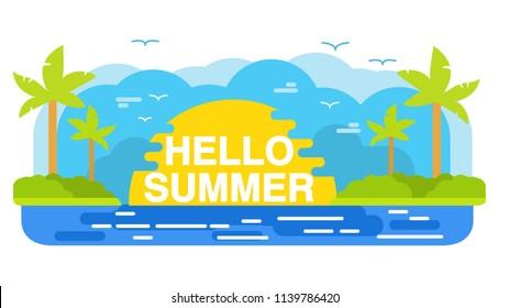 Hello Summer tropical island.Summertime beach palm tree.Sea landscape vacation holiday sun flat vector.