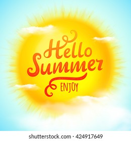 Hello summer, typographic inscription on sun with clouds. Vector Illustration
