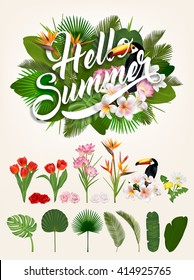 Hello Summer Typographical Background Set With Tropical Plants And Flowers