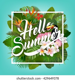 Hello Summer typographical background with tropical plants