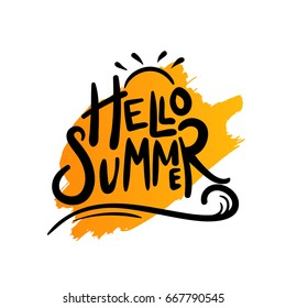 Hello summer typography with sun and wave vector illustration